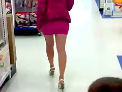 Wife in mini pink skirt