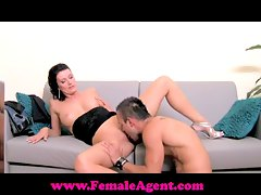 FemaleAgent Shy hunk is devour