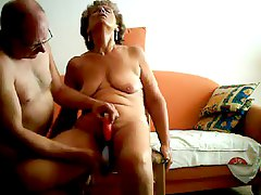 Mature couple dildo play for t
