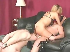 Cuckold eats the cum from her