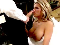 Sexy bride fucked on her weddi