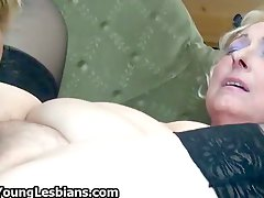 Horny grandmas love licking a