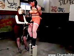 Big titted slave gets caned by