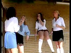 Four schoolgirls spanked and c