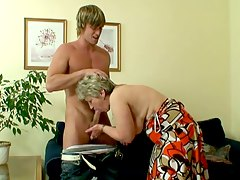 Blonde granny sucks young dick