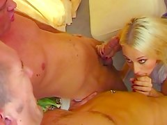 Horny blonde bitch drilled by