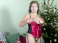 slutty granny playing with her