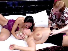 two mature lesbians having fun