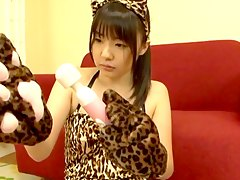 chick with a feline costume an