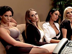 four babes seducing their boss