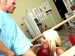 beautiful blonde doctor treati